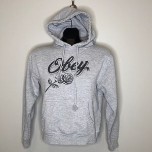 Obey grey graphic rose spellout graphic cropped kangaroo pocket hoodie Sm